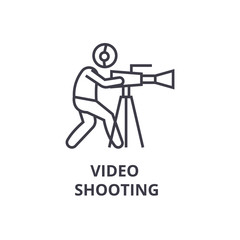 video shooting thin line icon, sign, symbol, illustation, linear concept vector
