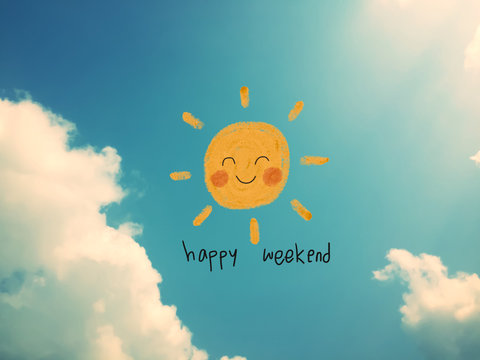 Happy weekend cute sun smile pencil color illustration on blue sky and cloud