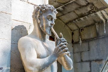 MASSANDRA, CRIMEA - OCT. 2014: Massandra Palace and Park Complex Massandrovskiy. Residence of Emperor Alexander III in Massandra, south coast of Crimea. Sculptures on the facade
