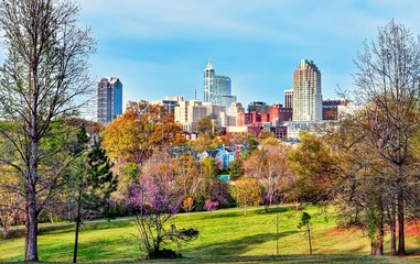 A beautiful daytime landscape view of downtown Raleigh, North Carolina.