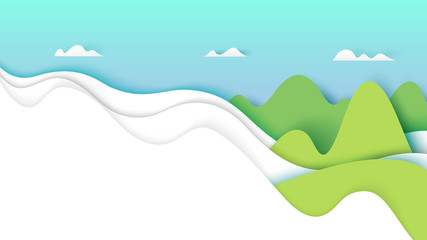Nature landscape with clouds and mountains.Paper art style vector illustration.
