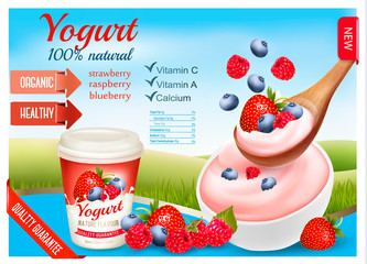 Fruit yogurt with berries advert concept. Yogurt flowing into cup with fresh berries. Design template. Vector.
