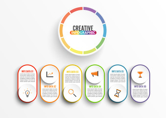 Abstract infographics number options template. Vector illustration. Can be used for workflow layout, diagram, business step six options, banner, web design. Stroke icons.