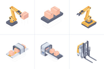 Concept of smart warehouse. Set of smart warehouse devices consist of robot arm, forklift, conveyor belt, boxing and packging line. Vector 3d isometric illustration on white background.
