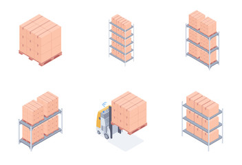 Set of warehouse units including racks with cardboard boxes, pallet racks, loaded wooden pallet and forklift. Concept of modern warehouse. Vector 3d isometric illustrations on white background.