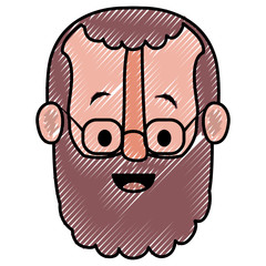 old man with glasses and beard head vector illustration design