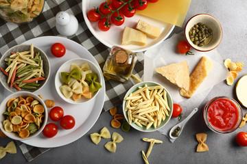 Italian raw pasta top view