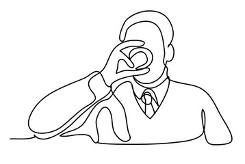 Man drinking whisky at home. Continuous line drawing. Isolated on the white background. Vector monochrome, drawing by lines. sketch