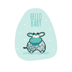 Cute cow with the words hello baby vector illustration on a pale green background