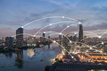 Wall Mural - Bangkok cityscape with network connection concept