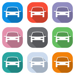 car icon. Set of white icons on colored squares for applications. Seamless and pattern for poster