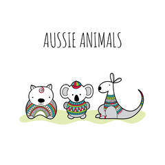 Cute group of Australian animal friends with doodle patterns for newborn or birthday celebrations, invitations and parties.