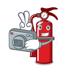 Photographer fire extinguisher mascot cartoon