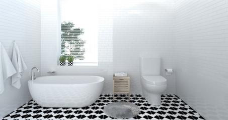 interior bathroom ,toilet,shower,modern home design 3D Illustration for copy space background white tile bathroom