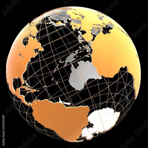 3d globe with continents and meridian lines stock photo and royalty