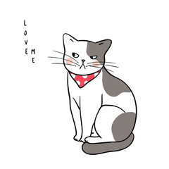 Vector illustration character design cute cat on white color and wording love me Draw doodle style