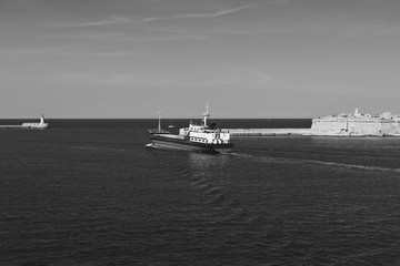 Cargo ship leaves the harbor