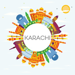 Karachi Skyline with Color Landmarks, Blue Sky and Copy Space.