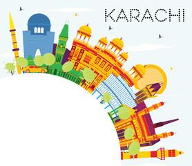 Karachi Skyline with Color Landmarks, Blue Sky and Copy Space.