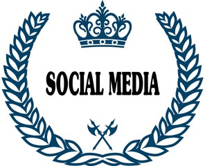Blue laurels seal with SOCIAL MEDIA text.