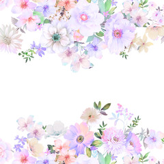 Elegant vintage watercolor flowers