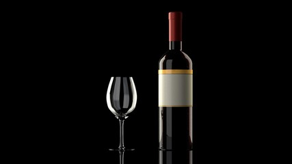 One bottle of red wine with an elegant blank empty label to put your own logo,  wine glass on a glossy reflective black table, isolated, black background