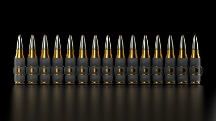 Machine gun bullet belt, set of shiny yellow metal gun bullets, elegant shot with precise lighting, isolated on a black background, close up with no other objects in the scene