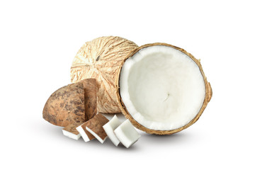 two coconut isolated on white background. Design for your product.  Full depth of field. This has clipping path.
