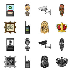 Picture, sarcophagus of the pharaoh, walkie-talkie, crown. Museum set collection icons in black,cartoon style vector symbol stock illustration web.