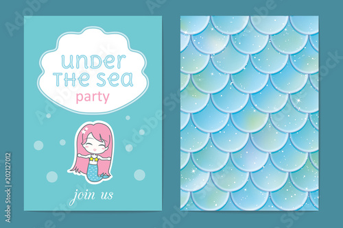 Party invitation holographic fish or mermaid scales vector party invitation holographic fish or mermaid scales vector illustration stopboris