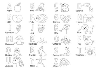 Colorless Alphabets with illustration A to Z for coloring book page for kids, English letters learning worksheet. Vector