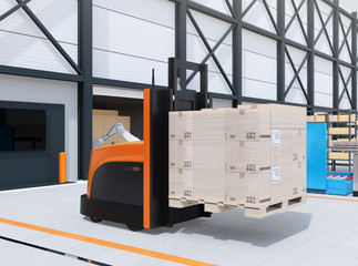 Autonomous forklift carrying pallet of goods in logistics center. 3D rendering image.
