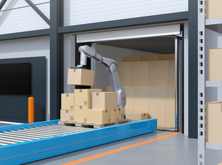 Industry robot picking parcels from truck cargo container. Logistics automation concept. 3D rendering image.