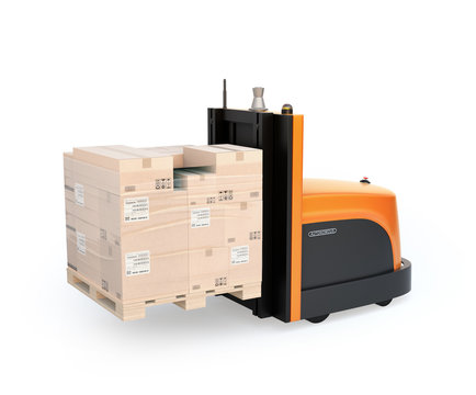 Autonomous forklift carrying pallet of goods isolated on white background. 3D rendering image.