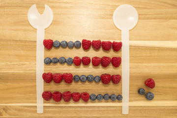 Vintage abacus calculator frame made of kitchen spoons, fresh blueberries and raspberries on a brown wooden cutting board