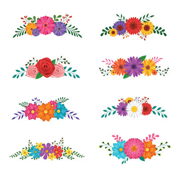 Set of floral ornaments isolated on white background