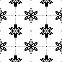 Black flowers on white background. Ornamental seamless pattern
