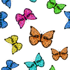 Butterflies. Colored seamless background