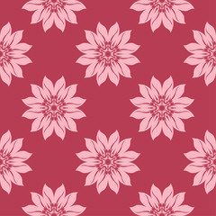 Floral seamless pattern on red background