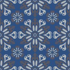 Seamless floral pattern. Dark blue background with flower designs