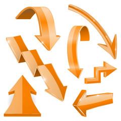 Orange 3d arrows. Shiny icons