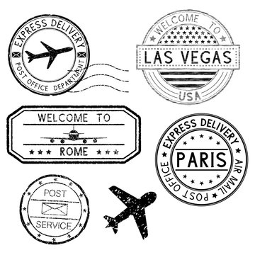 Postmarks and travel stamps, plane symbol