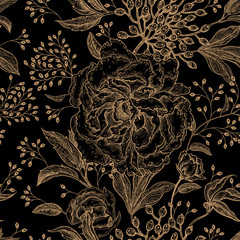 Floral vintage seamless pattern.