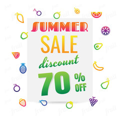 Summer Sale banner with pieces of ripe fruit, bright design. Vector illustration on white background. discount