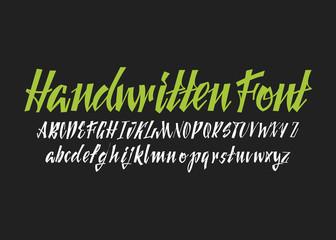 Calligraphic vector script font. Handwritten brush style modern calligraphy cursive typeface.