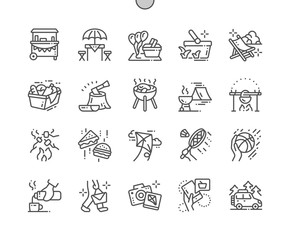 Picnic Well-crafted Pixel Perfect Vector Thin Line Icons 30 2x Grid for Web Graphics and Apps. Simple Minimal Pictogram