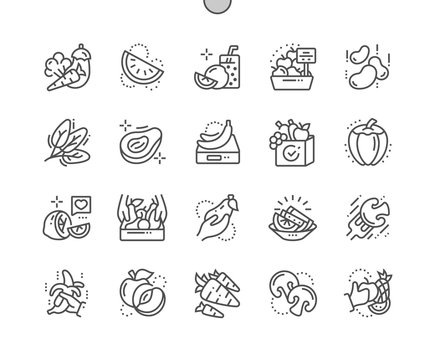 Fruits and Vegetables Well-crafted Pixel Perfect Vector Thin Line Icons 30 2x Grid for Web Graphics and Apps. Simple Minimal Pictogram