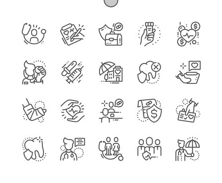 Medical insurance Well-crafted Pixel Perfect Vector Thin Line Icons 30 2x Grid for Web Graphics and Apps. Simple Minimal Pictogram