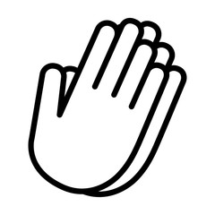 Pray worship or hands together in prayer line art vector icon for religious apps and websites