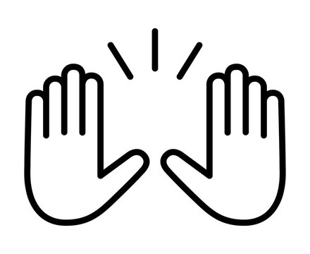 Raising hands to celebrate line art vector icon for apps and websites